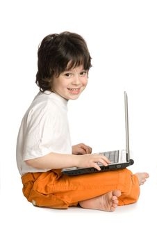 Free The Merry Boy With Laptop Stock Images - 9983244