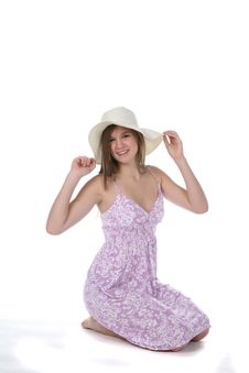 Pretty Teen In Purple Dress And Floppy Hat Royalty Free Stock Photos