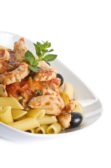 Free Penne Pasta With Chicken Breast And Black Olives Royalty Free Stock Photo - 9983825
