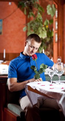 Free The Man With A Red Rose Royalty Free Stock Images - 9985379