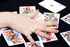 Free Palm On Playing Cards Royalty Free Stock Photos - 9985728