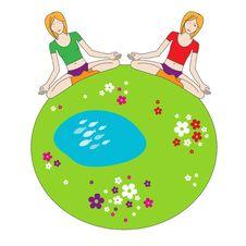 Free Yoga Girls - Green Planet Stock Image - 9985921
