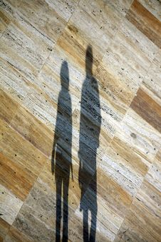 Two Shadows On Marble Floor Royalty Free Stock Images