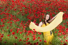Free Beautiful Smiling Girl With Yellow Scarf Stock Image - 9986441