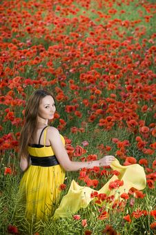Free Beautiful Young Girl With Yellow Scarf Stock Images - 9986464