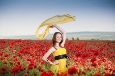 Free Attractive Girl In The Poppy Field Royalty Free Stock Photography - 9986477