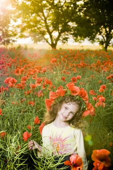Smiling Little Girl In The Poppy Field Royalty Free Stock Photo