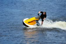 Free Young Man Riding Jet Ski Stock Photos - 9986543
