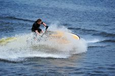 Free Young Man Riding Jet Ski Stock Photo - 9986550