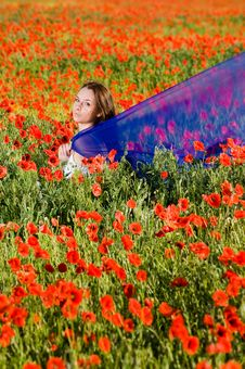 Free Sensual Girl In The Poppy Field Stock Photos - 9986573