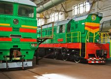 Free Two Old Locomotives Royalty Free Stock Photo - 9986595