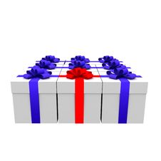 Free 3d Gifts Isolated On White. Stock Images - 9986774