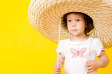 Free Little Baby With Big Hat Stock Photography - 9988742