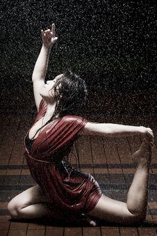 Ballet Dancer In The Rain Stock Photo