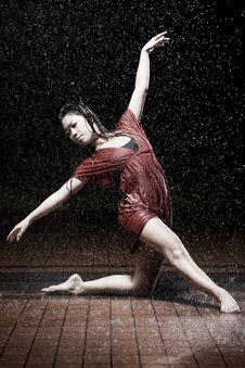 Ballet Dancer In The Rain Stock Photos