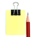 Free Red Pencil, Black Clipper, And Yellow Notepad Royalty Free Stock Photos - 9990098
