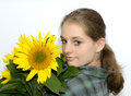 Free Woman With Sunflower Royalty Free Stock Photos - 9995438