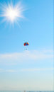 Free Air Walk With Parachute On By Sea. Stock Photo - 9999490