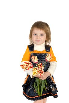 Free Cute Little Girl Giving Tulips Stock Image - 9990131