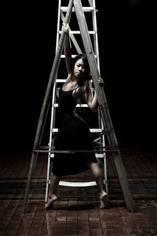 Free Ballet Dancer On Ladders Stock Photography - 9990302
