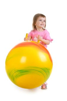 Free Little Girl And Big Yellow Ball Royalty Free Stock Photography - 9990317