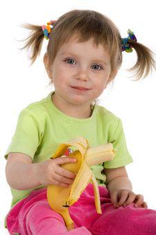 Free Little Girl Eats A Banana Royalty Free Stock Photos - 9990448