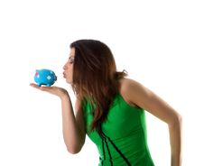 Free Pretty Woman Hold Blue Piggy Bank Royalty Free Stock Photos - 9990528