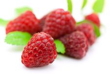 Ripe Raspberry With Mint Leaves Stock Image