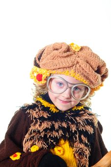 Girl In A Beautiful Knitted Suit Royalty Free Stock Image