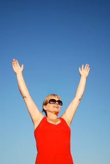 Woman Cheering Stock Photography