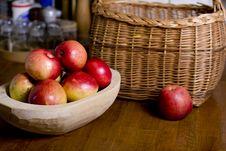Apples In Wooden Pan Stock Image