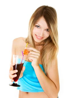 Free Beautiful Girl With Glass Of Juice Stock Photos - 9993873