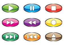 Free Nine Varicoloured Buttons For Player Stock Photography - 9994152