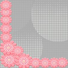 Free 2-D Pink Flowers On Interesting Gray Background Stock Image - 9994201