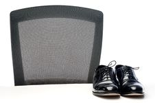 Free A Pair Of Black Business Shoes On A White Desk Royalty Free Stock Photography - 9995767