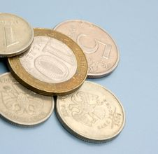 Coins On Colored Background Royalty Free Stock Image