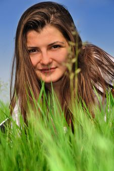 Free Girl And Fresh Green Grass Stock Photo - 9997800