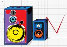 Free Two Colored Loudspeakers Royalty Free Stock Image - 9998156