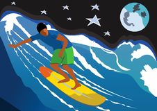 Night Surfer Stock Photos