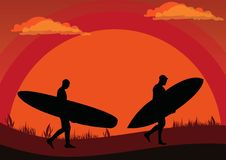 Free Sunset Surfers Stock Photo - 9998340
