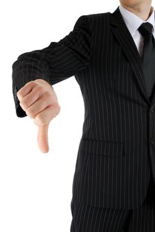 Free Business Man Gesturing Thumb Down. Stock Images - 9999224