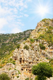 Tombs In The Rock High  The Mountains. Royalty Free Stock Photo