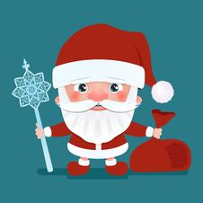 Free Santa Claus With A Bag And Crook Stick. Vector Illustration Royalty Free Stock Photos - 99975908